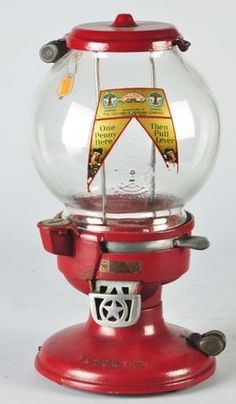 Columbus, Gumball, Model A3, Cast Iron, 1 Cent. A Columbus Vending Company penny gumball machine with glass globe on cast iron base