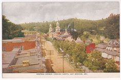 early downtown Hot Springs National Park, Arkansas, Central Avenue looking north