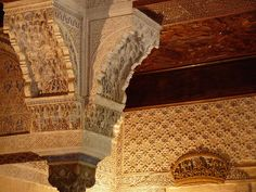 Alhambra de Granada. Detalle de un capitel en el Mexuar.