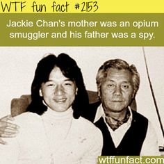 Jackie Chan's parents - WTF fun facts his mom looks like Jackie chan in a wig Wow Facts, Wtf Fun Facts, True Facts, Funny Facts, Funny Memes, Random Facts, Truck Memes, Hilarious, Jackie Chan