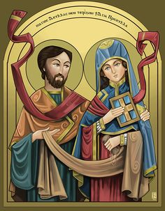 Saints of the day – July 8 – St Priscilla and St Aquila Aquila was a Jewish tentmaker. He and his wife Prisca or Priscilla were forced to leave Rome when Emperor Claudius forbade Jews to live there.A Yearbook of Saints St Priscilla, Priscilla And Aquila, Catholic Art, Catholic Saints, Early Christian, Christian Art, Religious Images, Religious Art, Medieval Drawings