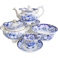 Antique Minton part tea service, Berlin embossed patt. 288 Felspar Porcelain, 1828 -- found at www.rubylane.com @rubylanecom #vintagebeginshere #mondayblues