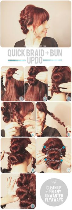 Quick bun and braid hair-do. This would be great for shows so my hair won't be flying all over the place. :)