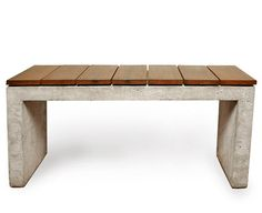 Valley Bench, cast concrete, stainless steel, reclaimed redwood. by Pete Oyler