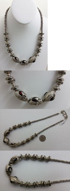 Necklaces and Pendants 98511: New Necklace W Antique Turkoman Afghanistan Silver And Inset Garnet Peacock Beads -> BUY IT NOW ONLY: $925 on eBay!
