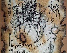 Cthulhu Necronomicon page WITCH QUEEN occult horror magick Steampunk Deviant Art, Cthulhu, Necronomicon Lovecraft, Yog Sothoth, Witch Queen, Art Gallery, Dark Spirit, Occult Art, Fantasy Rpg