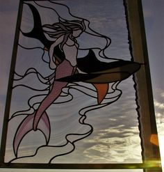 Mermaid and Shark stained glass panel.
