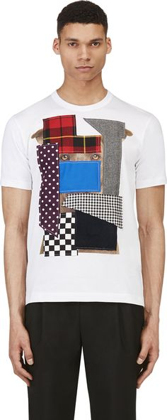 Comme des Garcons Shirts White & Blue Dog's Eye Patchwork T-Shirt on shopstyle.com