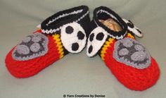 Please note that this pattern includes all 6 Paw Patrol Slipper designs. You need to know the Front and Back post double crochet for these slippers, they are quite easy to make and involve some sewing. Kids Slippers, Crochet Slippers, Knitting For Kids, Crochet For Kids, Crochet Woman, Knit Crochet, Paw Patrol Toys, Back Post Double Crochet, Art Impressions