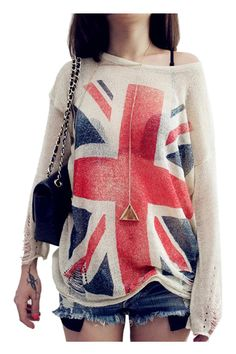 Distressed Union Jack Knitted Jumper - Fashion Clothing, Latest Street Fashion At Abaday.com