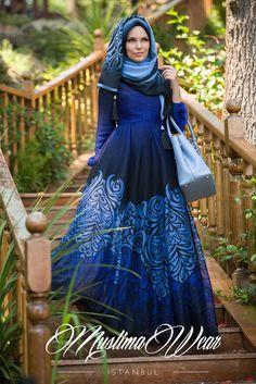 Blue Night Chiffon Dress