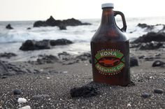 Black sand beach + Kona beer