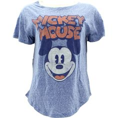 Disney - Women's Mickey Mouse Face T-Shirts - Blue