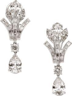 Diamond, Platinum Earrings
