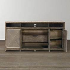 Compass Entertainment Console By Bassett Furniture Features 2 Adjustable  Wood Shelves And 1 Tray Drawer.