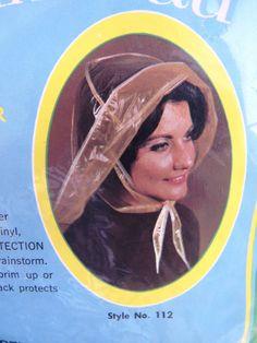 Retro Mod CLEAR Vinyl Rain Hat - Fishermans Rain Bonnet - Cover Up Head Rain Gear - Womens Fashion Accessories - Foldable  Rain Cap Bonnet by shabbyshopgirls on Etsy