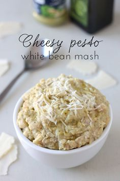 Cheesy pesto white bean mash - a protein-rich alternative to mashed potato that tastes incredible!