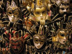 Gold highlighted Masks of Venice.