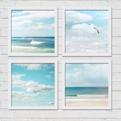 Beach photography birds in flight print set nautical decor coastal prints  8x8 inch fine art ocean photo set gulls seagulls waves sky clouds