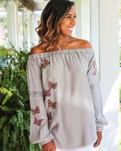 Fall transitional style in the south means breezy fabrics in soft neutral tones. This soft embroidered chambray piece is the perfect addition to your closet. Find it in-store and online! Now offering free shipping online! #tfssi #twofriendsssi #seaisland #stsimons #saintsimons #stsimonsisland #saintsimonsisland #goldenisles #shoplocal #shopgoldenisles #shopsmall #chambray #soft #embroidery #trend #butterfly #grey #neutral #transitionalstyle #sofun #cute #offtheshoulder #ots #ootd #fall…