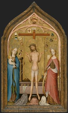Christ is flanked by the Virgin and St. Catherine holding the instruments  of her torture, the wheel and the sword. This panel was probably initially  the ce...
