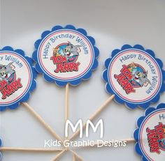 Tom And Jerry Theme 20 Cupcake Toppers Personalized by MMKids, $15.00