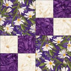 Sewing Block Quilts Image detail for -Purple White Daisy Floral Fabric Pre Cut Quilt Block Kit Simple . Quilting For Beginners, Quilting Tutorials, Quilting Projects, Quilting Designs, Quilting Ideas, Lap Quilts, Scrappy Quilts, Easy Quilt Patterns, Pattern Blocks
