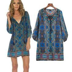 Summer Beach Dress Verano Vestido De Playa Largo Ladies Gowns High Quality European Blue Dresses Boho Tunica Femme Chili