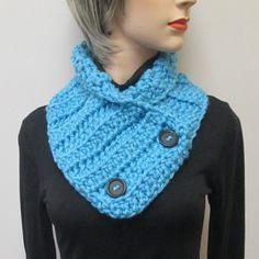 Soft Blue Chunky Scarf, Warm Crochet Scarves, Warm Fall Scarves, Winter Womans Scarves, Warm Fall Scarf, Fall Scarves, Fabiana B2-019 by CeciliaAnnDesigns on Etsy