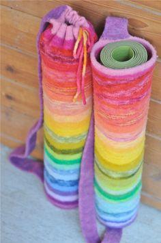 felted rainbow yoga mat bag, take two by waldorf mama, via Flickr