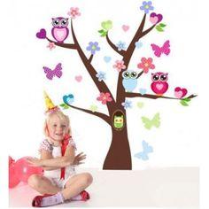 Samolepky na zeď - strom se sovičkami
