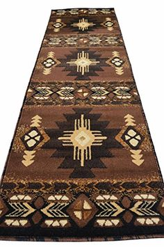 Southwest Native American Indian Rugs 4 Less Collection Long Runner Area  Rug Design R4L 318 Chocolate