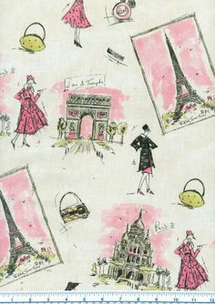 This Waverly Tres Chic Paris Fabric in black & pink features Parisian landmarks including the Eiffel tower. Shop this Paris fabric by the yard at Fabric Mill! Modern Upholstery Fabric, Drapery Fabric, Vw R32, Waverly Fabric, King Design, Pink Paris, Paris Chic, Paris Theme, Coordinating Fabrics