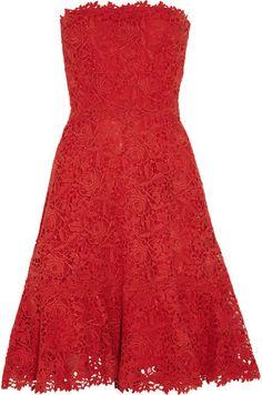 Valentino Strapless Cotton Macramé Lace Dress - Lyst