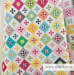 interesting style - - - crazy mom quilts: mini nines quilt from her book, No Scrap Left Behind