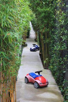 garten im innenhof bambuspflanzen eingang gehweg kinder spielzeuge autos