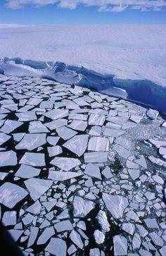 Rompimento da banquisa de gelo na Antártida.  Fotografia: D. Ruché/IPEV. A banquisa ou banco de gelo é água do mar congelada que começa a se formar aos -2ºC originando fina camada que se quebra com facilidade.