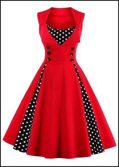 Midi Polka Dot Prom Rockabilly Swing Vintage Prom Dresses #ad #retro