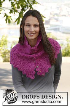 "Free pattern: Crochet DROPS neck warmer in ""Karisma"" and ""Kid-Silk""."