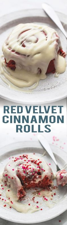 Super fluffy Red Velvet Cinnamon Rolls with Brown Butter Cream Cheese Frosting   lecremedelacrumb.com