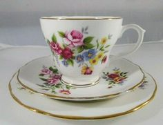 Vintage Duchess Floral 329 Bone China Tea cup Trio Saucer Side plate England