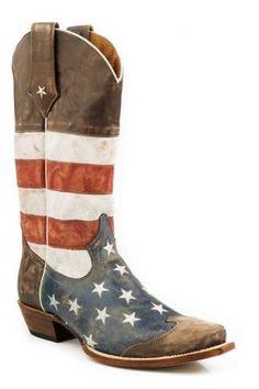 25a44d22667 Men s Cowboy Boots Roper Brown American Flag - Snip Toe