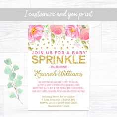 Baby Sprinkle Invitation Girl, Pink and Gold Baby Sprinkle Invitation, Baby Girl Sprinkle Printable Invitation 1660 Baby Sprinkle Invitations, Photo Invitations, Digital Invitations, Printable Invitations, Birthday Invitations, Baby Girl Sprinkle, Ballerina Birthday, Color Card, Printing Services