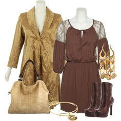 gold wear to work (ROMEO JULIET COUTURE Lace Crepe Chiffon Bohemian Dress [RJPRD1688] )