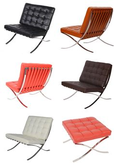 MLF® Knoll Barcelona Chair (5 Colors), designed by Ludwig Mies van der Rohe. Superior Craftsmanship. Premium Leather, High Density Foam Cushions & Seamless Visible Corners. Polished Stainless Steel Frame Riveted with Cowhide Saddle Straps, Resistance to Chipping, Corrosion & Rust.
