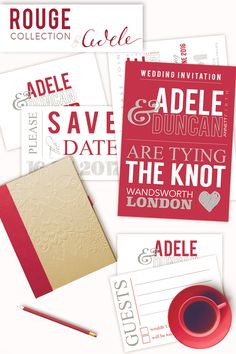 Beautiful Red Wedding Stationery. Fully personalised wedding invitations, save the date cards, rsvp cards, table stationery and thank you cards.