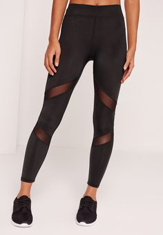 Missguided - Active Long Length Mesh Panel Gym Leggings Black