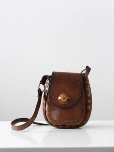 vintage 60s leather shoulder bag - 86 Vintage