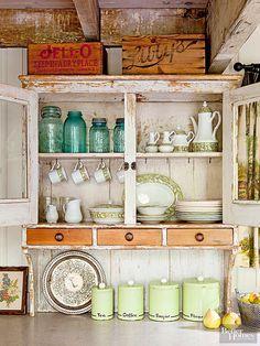 Antique Crates Above A Primitive Cabinet Vintage Kitchen Cabinetsdecorating Above Kitchen