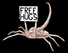 Be careful what you ask for as this alien free hugs tshirt might just get you a special hug from a facehugger from aliens! Saga Alien, Alien Film, Les Aliens, Aliens Movie, Xenomorph, Arte Alien, Alien Art, Mundo Dos Games, Predator Alien